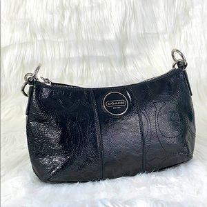 COACH Black Leather Signature Purse Mini Bag Logo